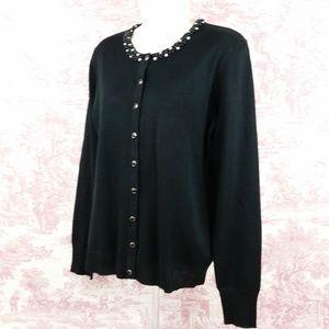 Esperanza Black Button Front Thin Knit Cardigan